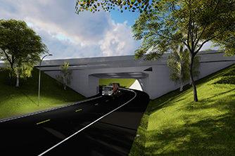 Tverrforbindelsen vest for kulvert under jernbanen   3D-illustrasjon: Multiconsult