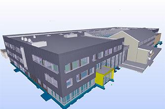 Fasade hovedinngang eksisterende bygg og flerbrukshall | 3D: Multiconsult