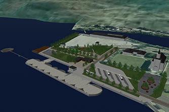 forprosjekt, Almerket, Odda, Cruisebåt, havn, strandpromenade, sjøtrapp, park, kollektivanlegg, multiconsult