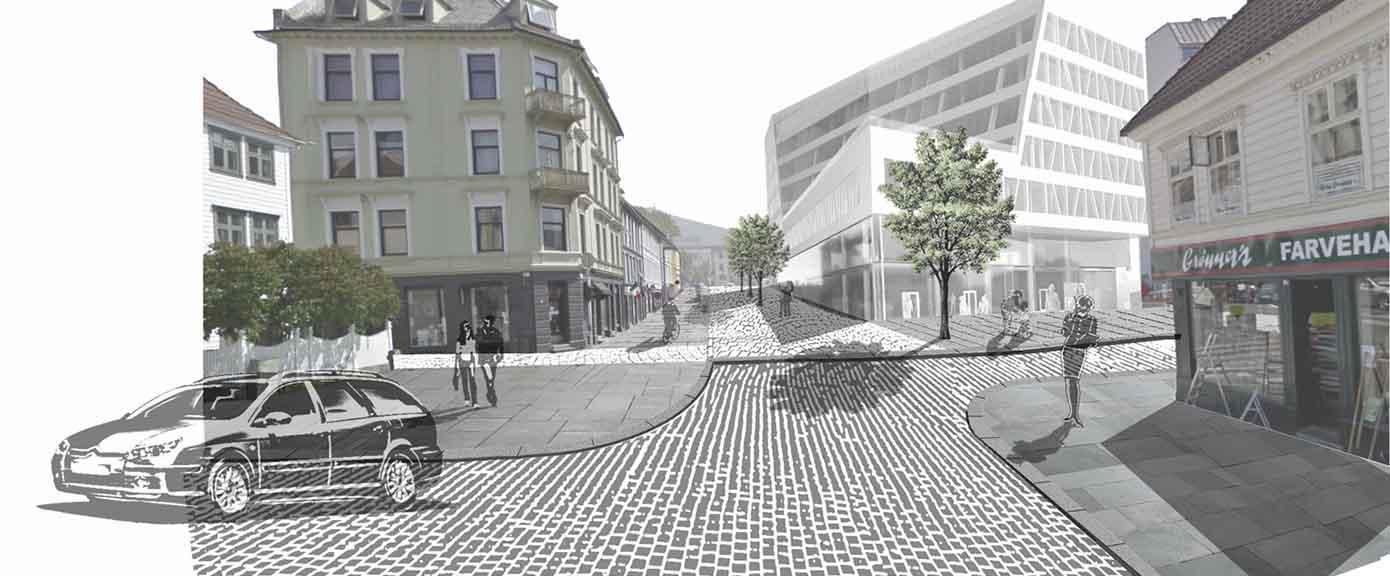 Nøstet, gateopprustning,Multiconsult,Bergen
