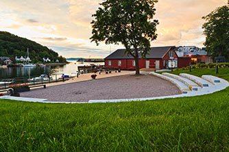Sjøparken, levanger, sentrum, granittamfi, brygge, grus, badeplass, trapp, multiconsult