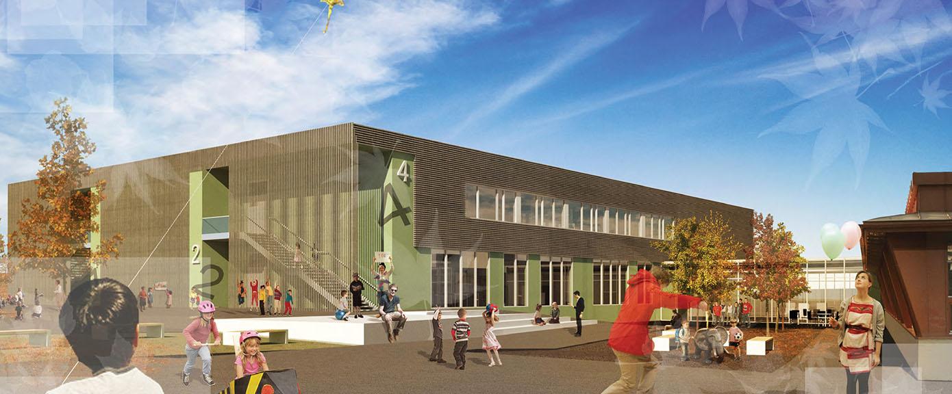 Fotoillustrasjon av skolegården   Illustrasjon: Lusparken Arktitekter AS